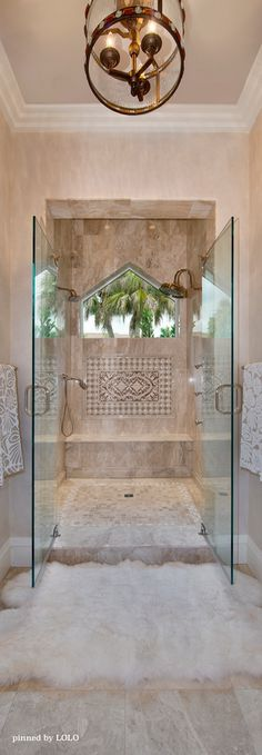 Opulent, luxurious bathroom with extensive use of natural stone.