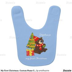 My First Christmas. Christmas Gift Baby Bib with fun Teddy Bear and Christmas Tree and personalized kid's name. Matching cards, postage stamps and other products available in the Christmas & New Year Category of the artofmairin store at zazzle.com