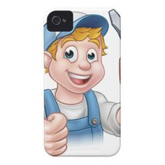 Electrician Handyman Cartoon Character Case-Mate iPhone 4 Case