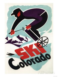 Colorado - Black and Purple Clothed Skier Skiing Colorado Poster Art Print at AllPosters.com