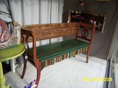 bench from chairs and salvaged wood - want it!
