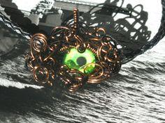 Evil Gargoyle Eye Wire Wrapped Pendant on Black Leather Necklace