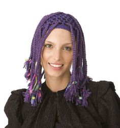 Free Crochet Pattern: Purple Braids Wig.  Have to login and join to see it (lionbrand yarn).