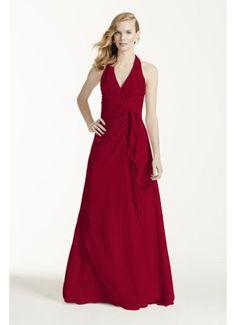 b9d5200a28 Soft Crinkle Chiffon Halter Draped Cascade F12688 Davids Bridal Bridesmaid  Dresses