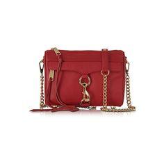 Rebecca Minkoff Handbags Mini Mac Deep Red Leather Crossbody Bag (438 CAD) ❤ liked on Polyvore featuring bags, handbags, shoulder bags, red, leather purses, leather crossbody handbags, leather shoulder handbags, crossbody purses and shoulder handbags