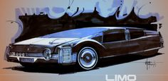Сид Мид (Syd Mead): Sentinel 400 Limousine, Originally part of a larger gouache for U.S. Steel; seen and admired by Nathan Proche, president...