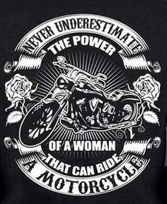 Power of woman with motorcycle.