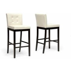 Wholesale Interiors Prospect 70 inch Modern Bar-Height Stool, Set of 2, Cream, White