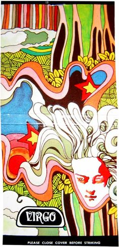 Psychedelic matchbook illustration, Virgo, early 1970s