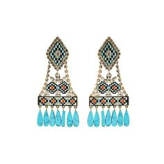 Shourouk Ramses clip-on earrings (32.725 RUB) ❤ liked on Polyvore featuring jewelry, earrings, blue, clip on chandelier earrings, egyptian earrings, holiday earrings, blue bead earrings and clear earrings