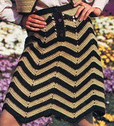 Chevron Skirt Crochet Pattern and Bolero Crochet Pattern Vintage 1970s PDF