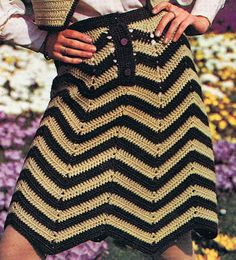 Chevron Skirt Crochet Pattern and Bolero Crochet Pattern Vintage 1970s PDF