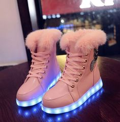 Womens Fur Rhinestones Led Usb Charged Ankle Boots Shoes Lights Pink Sneakeers