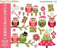 70% OFF SALE Christmas Owls Clip Art  Owl Christmas Xmas