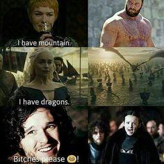 Game of thrones funny humour meme. Jon Snow, Daenerys Targaryen, Cersei Lannister, The Mountain, Lyanna Mormont. Kit Harington, Lena Headley, Emilia Clarke