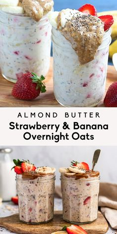 Delicious strawberry and banana overnight oats made with chia seeds, greek yogurt and a drizzle of creamy almond butter. This protein-packed strawberry banana overnight oats recipe is an easy make-ahead breakfast that will keep you full and satisfied! #overnightoats #oatmeal #breakfast #mealprep #glutenfree