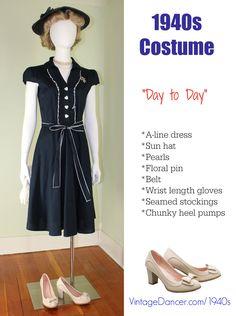 1940s shirt dress or shirtwaist dress costume idea at VintageDancer.com
