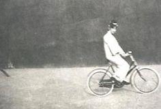 Wan Rong riding a bicycle