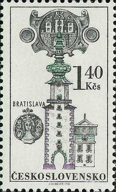 Bélyeg: Znak města, Michalská brána Bratislava (Csehszlovákia) (Ház jelek és portálok) Mi:CS 1955,Sn:CS 1701,Yt:CS 1799,AFA:CS 1800,POF:CS 1843