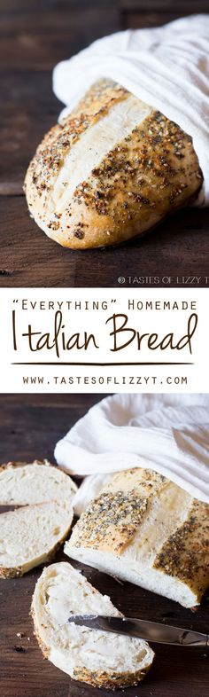 """Everything Homemade Italian Bread  on MyRecipeMagic.com. Classic, homemade Italian bread dressed up with an """"everything"""", 4 ingredient spice rub. This bread rises in the refrigerator overnight."""