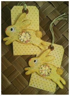 Easter Bunny Basket Gift Tag Handmade Shabby by alohacookiegirl, $5.00