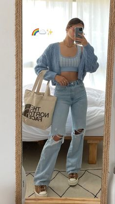 Indie Outfits, Teen Fashion Outfits, Retro Outfits, Cute Casual Outfits, Girl Outfits, Aesthetic Fashion, Look Fashion, Aesthetic Clothes, Jugend Mode Outfits