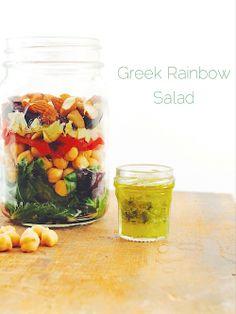 Greek Rainbow Salad in a jar ~ great for eating healthy on the go {gf, vegan}
