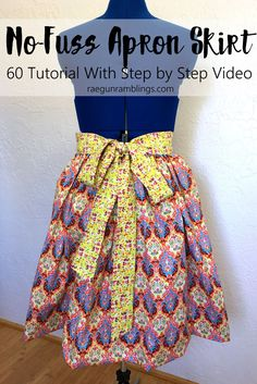 How to make an apron skirt without a zipper. Sewing tutorial 60 minutes with full step by step video instructions made with Sue Daley's Bittersweet collection for Riley Blake Designs.