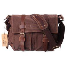 "52% Off was $99.99, now is $47.99! Kattee® Retro Unisex Canvas Leather Messenger Shoulder Bag Fits 14.7"" Laptop"