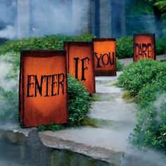 Enter If You Dare Luminaries Halloween Decoration - Grandin Road Halloween Yard Props, Halloween Tombstones, Halloween Graveyard, Halloween Mantel, Outdoor Halloween, Halloween Themes, Fall Halloween, Halloween Crafts, Halloween Decorations