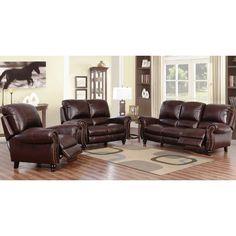 Abbyson Madison Premium Grade Leather Pushback Reclining Sofa Set
