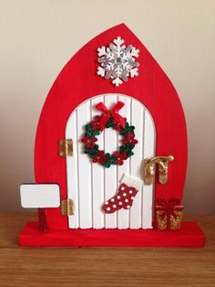 Large Opening Christmas Elf / Fairy Door - Free Standing Christmas Fair Ideas, Christmas Fairy, Miniature Christmas, Christmas Makes, Christmas Door, Christmas Inspiration, Christmas Decorations, Christmas Ornaments, Fairy Crafts