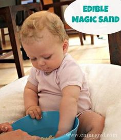 Magic Sand for Baby – 2 Ingredients and completely EDIBLE! Great sensory play activity!