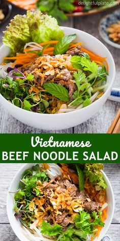 Vietnamese beef noodle salad (bun bo xao) is packed with fresh herbs, flavorful beef on top of rice vermicelli noodles, lettuce, and refreshing lime fish sauce dressing. It is a quick and easy one bowl meal for weeknight dinner. Vermicelli Recipes, Vietnamese Vermicelli Bowl Recipe, Vermicelli Rice Noodle Recipe, Asian Recipes, Beef Recipes, Cooking Recipes, Healthy Recipes, Noodle Recipes, Side Dishes