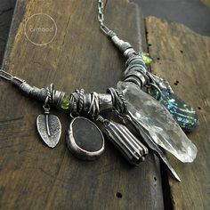 Green amethyst, ancient glass, beach stone, peridot and raw sterling silver - necklace - Studio Formood Crystal Jewelry, Metal Jewelry, Boho Jewelry, Jewelry Art, Beaded Jewelry, Silver Jewelry, Jewelry Accessories, Jewelry Design, Unique Jewelry
