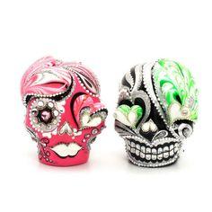Love Never Dies Skull Wedding Cake Topper Handmade Hand Painted Mexican Sugar Skulls Art and Crafts 00134  www.goodiemud.com