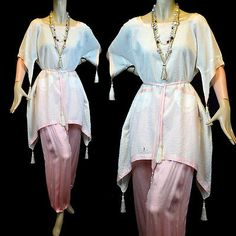 Vintage Silk Harem Pants Pajamas Tunic Paul Poiret Inspired Tassels Suffragette