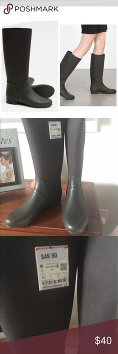 ZARA rain boots Khaki/Dark olive green colored wellies•combined material on the shaft. Tag reads 40, size 9. Never been worn! Re-posh. Zara Shoes Winter & Rain Boots