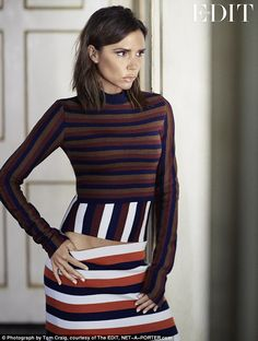 Star in stripes: Victoria Beckham sports a clinging top and tight skirt in a new photoshoot for Net-a-Porter's The Edit