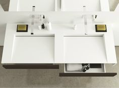 Doppel- Hänge- Waschbecken aus Corian® mit Schubladen SLIM WOOD by MOMA Design by Archiplast