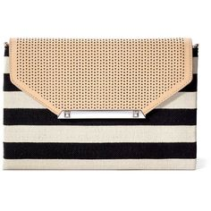 Stella & Dot City Slim Clutch - Black/Cream Clean Stripe ($59) ❤ liked on Polyvore featuring bags, handbags, clutches, black purse, mini pochette, chain crossbody, mini crossbody handbags and black crossbody