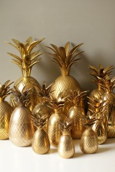 Gold pineapples, gold and glitter, sparkling, rich, beautiful, shiny,