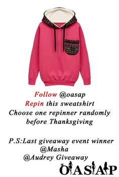 ★ Oasap New Giveaway Event ★Follow @OasapOfficial and Repin this pic to get the Sweatshirt! ★ FREE SHIPPING + 70% OFF for Thanksgiving!!