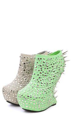 Rosewell Rhinestone Spiky Heel Less Booties GREEN