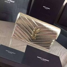 2016 Cheap YSL Out Sale with Free Shipping-Saint Laurent Monogram Envelope Chain Wallet in Pale Gold Grained Matelasse Metallic Leather