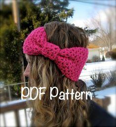 PATTERN: Ear warmer, head band, hair band, hat, crochet, winter, giant bow, easy crochet, ski band, pdf, Permission to Sell. $4.99, via Etsy.