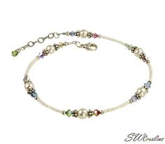 Pastel Cream Rose Pearl Beaded Anklet