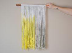 Dip dyed yarn wall art