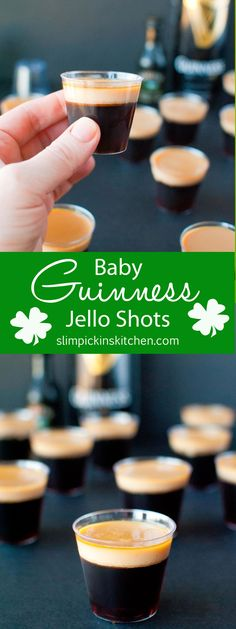 Baby Guinness Jello Shots ⋆ Slim Pickin's Kitchen A fun and festive jello shot recipe that's perfect for St. Made with Bailey's Irish Cream and Guinness Stout, these jelly shots will have you dancing an Irish jig in no time! Baileys Irish Cream, Gelatin Recipes, Jello Shot Recipes, Jello Shooters Recipe, St Patricks Day Drinks, St Patricks Day Food, Jello Pudding Shots, Irish Jig, Raspberry Cocktail