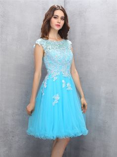 a5c86bd5305 A-line Scoop Knee-length Blue Organza Homecoming Dress with Appliques  Beading Formal Dresses